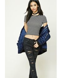 Forever 21 | Black Striped Knit Tee | Lyst