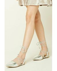 Forever 21 | Metallic Lace-up Flats | Lyst