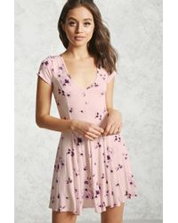 Forever 21 | Pink Floral Swing Dress | Lyst