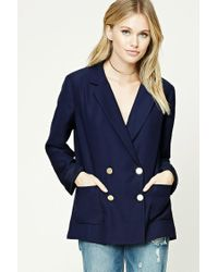 Forever 21 | Blue Contemporary Button-up Blazer | Lyst