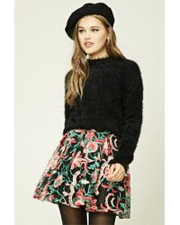 Forever 21 | Black Pleated Embroidered Mini Skirt | Lyst