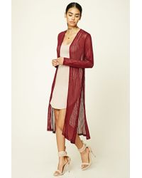 Forever 21 | Red Open-knit Longline Cardigan | Lyst