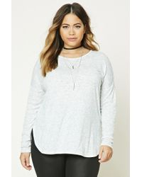 Forever 21 - Gray Plus Size Marled Knit Top - Lyst