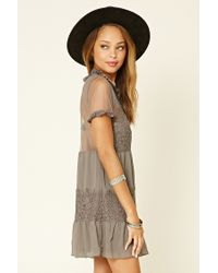 Forever 21 - Gray Slit-front Lace Shift Dress - Lyst