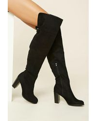 Forever 21 | Black Over-the-knee Faux Suede Boots | Lyst