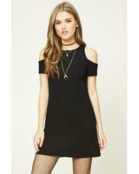 Forever 21 | Black Ribbed Open-shoulder Dress | Lyst