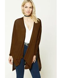 Forever 21 | Brown Contemporary Side-slit Cardigan | Lyst