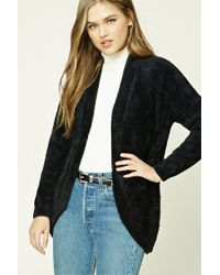 Forever 21 | Black Hairy Knit Open-front Cardigan | Lyst