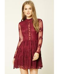 502f288a5c Forever 21 Floral Lace Skater Dress in Blue - Lyst