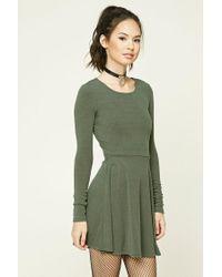 Forever 21 | Green Heathered Knit Skater Dress | Lyst