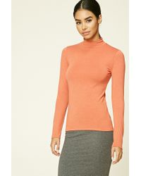 Forever 21 - Orange Turtleneck Knit Top - Lyst