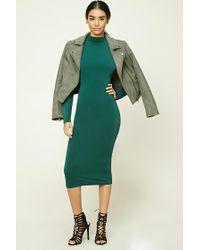 Forever 21 | Green Mock Neck Bodycon Midi Dress | Lyst
