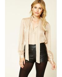 Forever 21   Natural Contemporary Tie-neck Shirt   Lyst