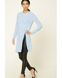 Forever 21 | Blue Longline Front-slit Sweater | Lyst