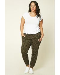 ee93a9b3a4875 Lyst - Forever 21 Plus Size Camo Print Sweatpants in Green