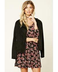 Forever 21 | Black Floral Print Skater Dress | Lyst
