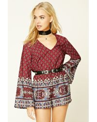 Forever 21 | Red Abstract Tie-front Romper | Lyst