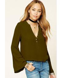 Forever 21 | Green Long Bell-sleeved Top | Lyst