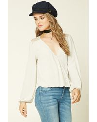 Forever 21 | Natural Surplice High-low Top | Lyst