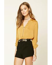 Forever 21 | Yellow Satin Zip-front Blouse | Lyst