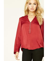 Forever 21 | Red Satin Zip-front Blouse | Lyst