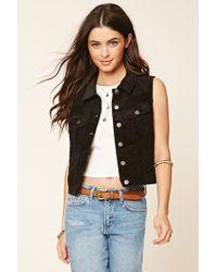 Forever 21 | Black Buttoned Corduroy Vest | Lyst