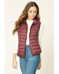 Forever 21   Red Zip-up Puffer Vest   Lyst