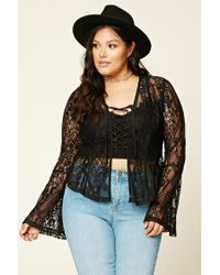 Forever 21 | Black Plus Size Floral Lace Top | Lyst