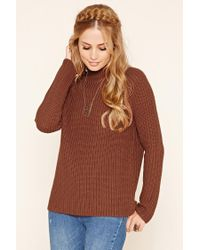 Forever 21   Brown Ribbed Knit Sweater   Lyst