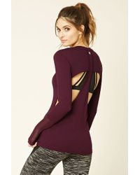 Forever 21   Purple Active Cutout Mesh Top   Lyst