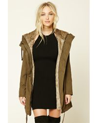 Forever 21 | Green Faux Fur-lined Parka | Lyst