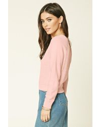 Forever 21 - Pink Ribbed-panel Sweater - Lyst
