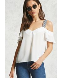 Forever 21 | White Chiffon Open-shoulder Top | Lyst