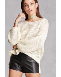 Forever 21 | White Open-knit Lantern Sleeve Top | Lyst