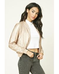 Forever 21 | Natural Faux Leather Bomber Jacket | Lyst