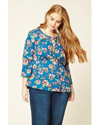 Forever 21 | Blue Plus Size Floral Lace-up Top | Lyst