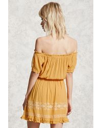 Forever 21 - Yellow Embroidered Peasant Dress - Lyst