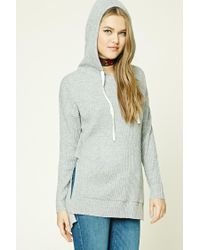 Forever 21   Gray Ribbed Drawstring Hoodie   Lyst