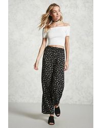 Forever 21 | Black Floral Print Palazzo Pants | Lyst