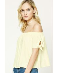 1d50572b824f22 Lyst - Forever 21 Contemporary Knotted-sleeve Top in Yellow