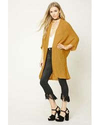 Forever 21 | Yellow Longline Open-front Cardigan | Lyst