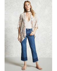 Forever 21 - Natural Contemporary Floral Kimono - Lyst