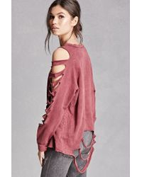 Forever 21 | Pink Distressed Ladder-cutout Top | Lyst