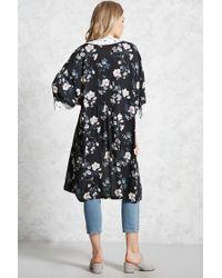 Forever 21 - Black Contrast Floral Kimono - Lyst
