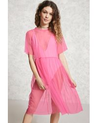 Forever 21 | Pink Sheer Mesh Overlay Dress | Lyst
