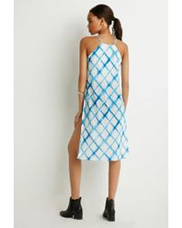 Forever 21 - Blue Faded Windowpane High-slit Cami - Lyst