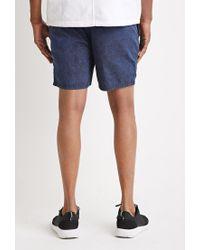Forever 21 | Blue Mineral Wash Drawstring Shorts for Men | Lyst