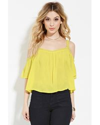 Forever 21 | Yellow Lace-trimmed Off-the-shoulder Top | Lyst