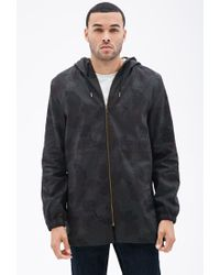 Forever 21 | Green Hooded Leaf Print Utility Jacket for Men | Lyst