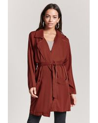 Forever 21 - Red Drape-front Longline Jacket - Lyst
